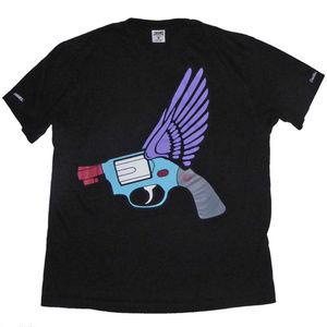 MENS BLACK CROOKS & CASTLES SHIRT FLYING GUN L